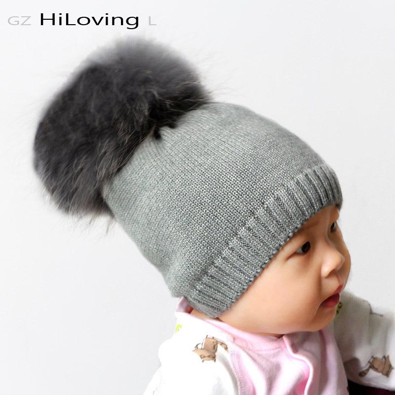 6044bf8e8d7 GZHilovingL Baby Girls Boys Winter Warm Hats Cap With Fur Pompom Ball Kids  Childs Soft Solid 100 Cotton Knitted Beanie Skullies D18110601 Knitted Hat  Cap ...
