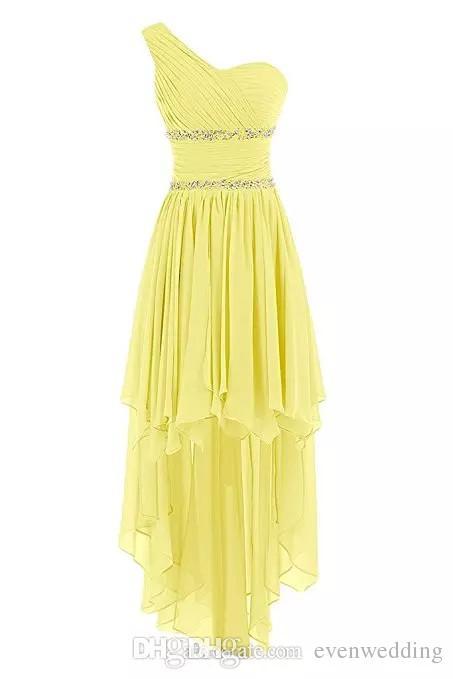 Bir Omuz Şifon Yüksek Düşük Gelinlik Modelleri Lace Up Düğün Parti Elbise Boncuklu Balo Abiye Custom Made