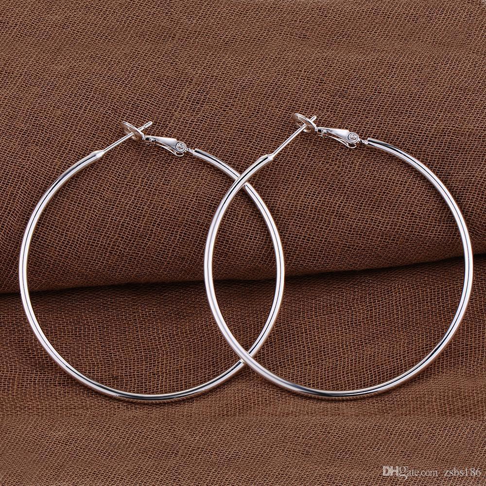 Wholesale 925 Silver Plated Big hoop earrings Diameter 5CM 6CM 7CM 8CM Woman Fashion Party Jewelry