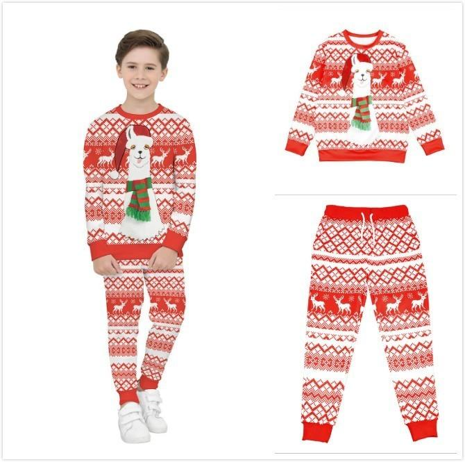 2018 2018 amazon new pattern childrens garment christmas clothing 3d aries camel number printing children bring hat twinset from xiexinpiang