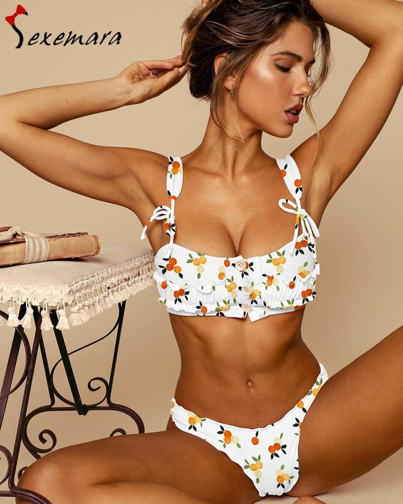 5ad8510538 2019 Hot Sale Button Bikini Woman Sexy Ruffle Top Swimsuit Floral Print   Solid Color Swimwear Thong Biquinis Traje Bano Mujer Zwempak From Aprili