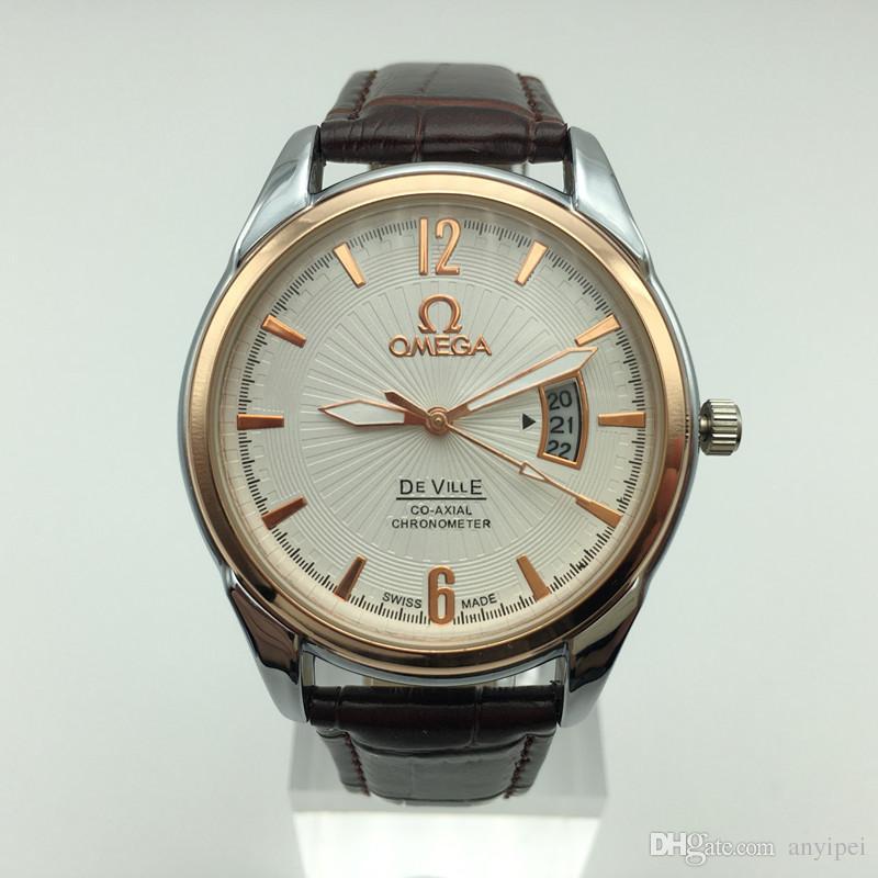 Compre New2018 Hombres Modernos Reloj De Lujo Marca De Relojes De Cuarzo De  Cuero Marrón Moda Casual Relojes Hombre Calendario De Alta Calidad Montre  Homme ... 473857cd2d63