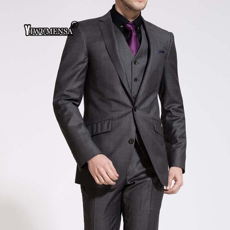 c37e35058c6 2019 Yiwumensa Itlian Style Mens Suit Custom Made Deep Grey Men ...