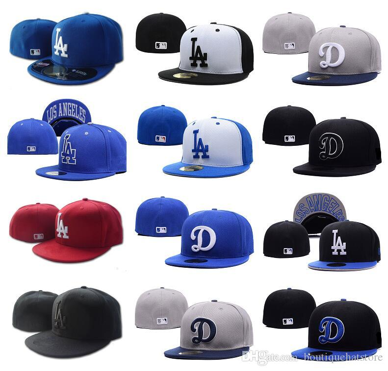 84ae10a7d27 2018 New Men s Top Quality LA Fitted Hat Flat Brim Embroiered Letter Team  Logo Fans Baseball Hats Size LA on Field Full Closed Chapeu Brands Baseball  Fitted ...