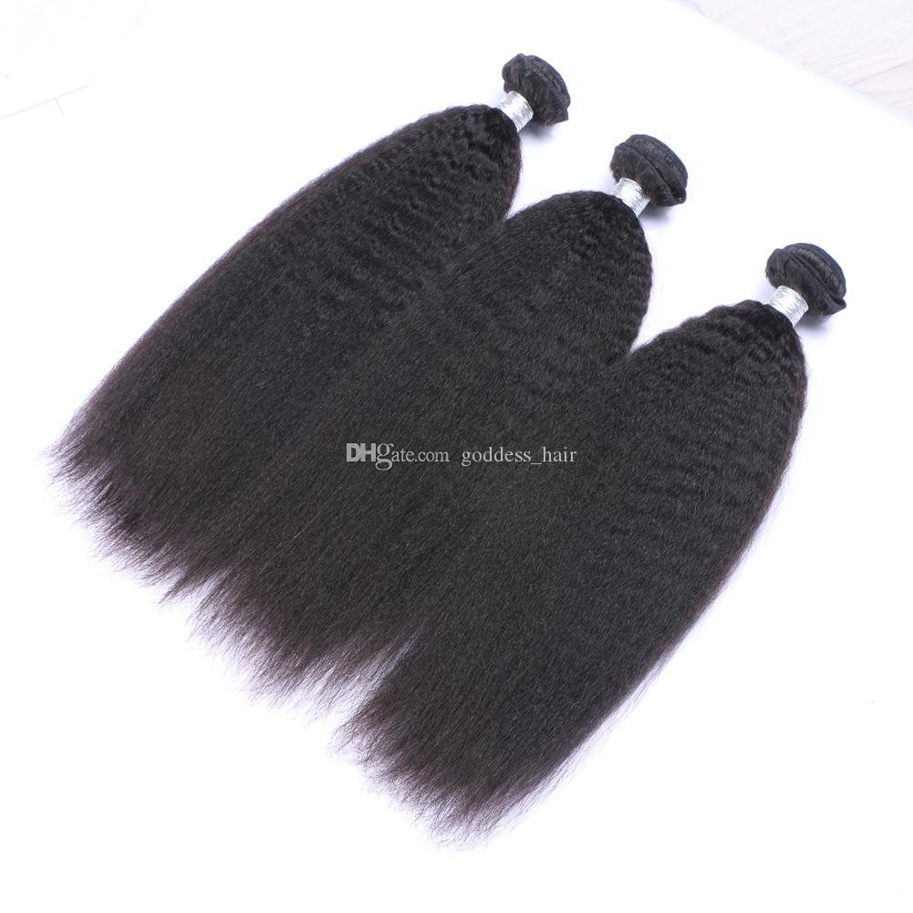 Los paquetes peruanos del pelo liso 9A con el cierre del cordón / liberan el cierre grueso del cordón de Yaki del italiano 4x4 con el pelo humano