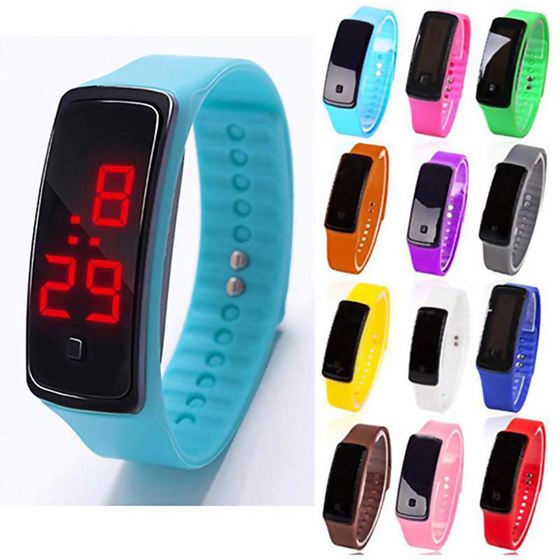 b1175a4b3c92 Relojes Con Bluetooth Universal Hombres Mujeres Silicona Rojo LED Deportes  Pulsera Reloj Táctil Reloj Digital Reloj Electrónica Reloj Gear Fit Por  Gameshome ...