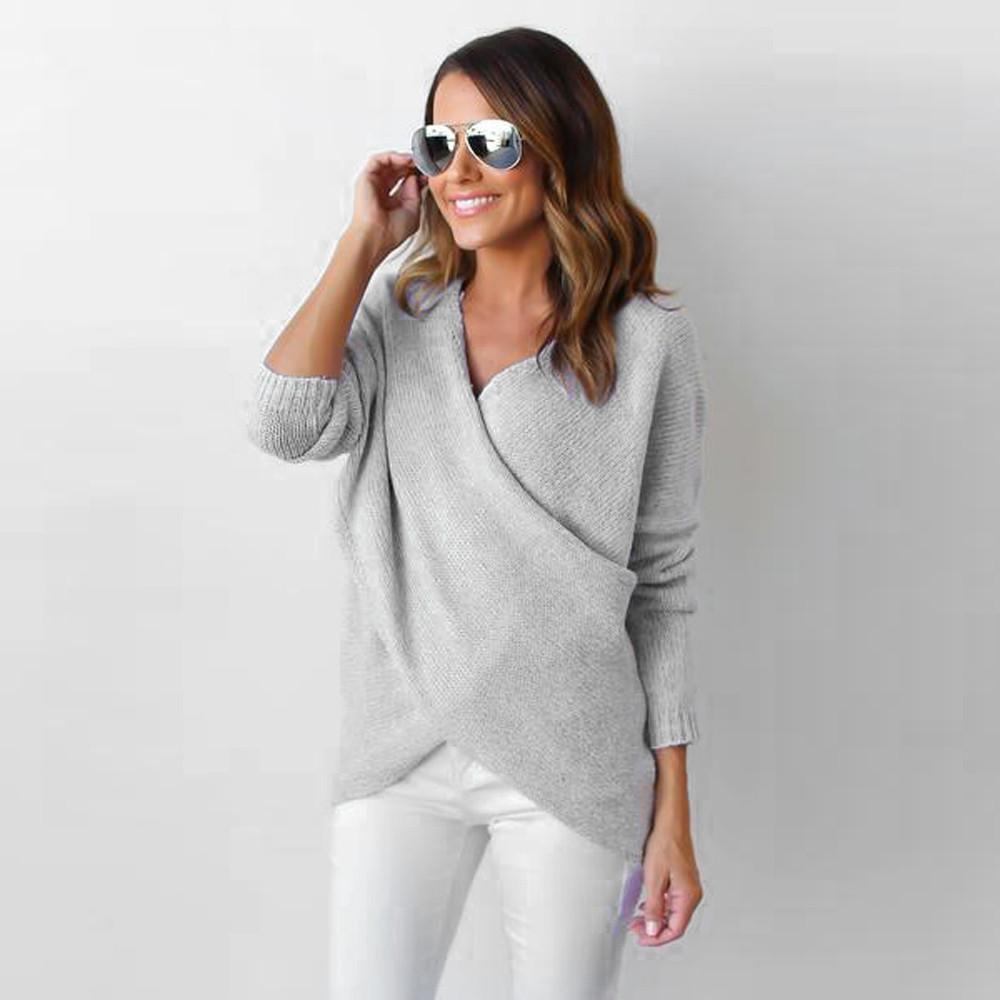 купить оптом женская мода твердые свитер V образным вырезом крест с