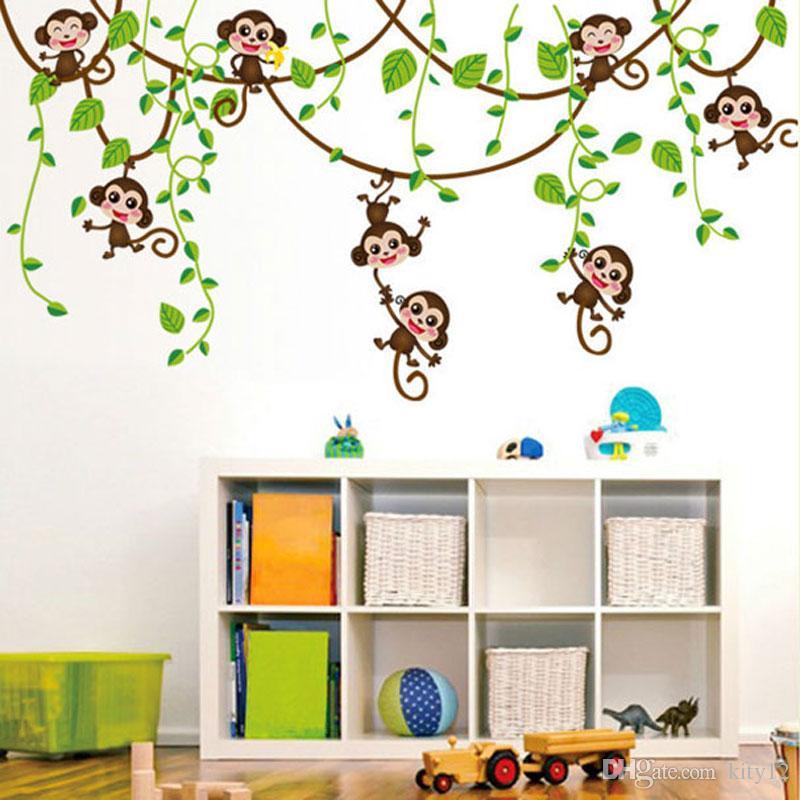 cartoon monkey wall sticker baby monkeys in the jungle tree wall