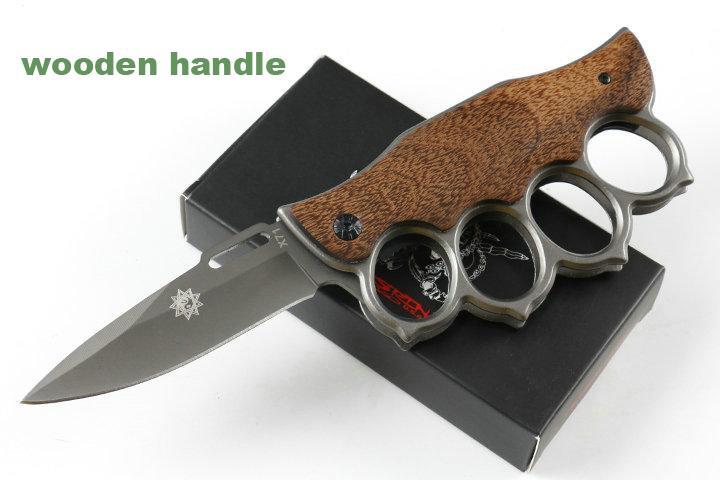 Soğuk çelik 219X71 Knuckle Duster çakı katlama bıçak 7CR17Mov Blade Alüminyum Kolu avcılık taktik kamp bıçak Bırak nakliye