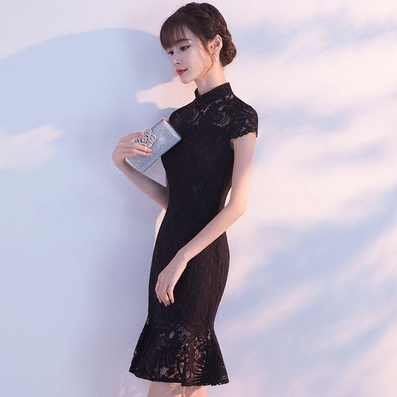 2abd82aa5 2019 Cheongsam 2017 New Fashion Korean Short Lace Women Traditional Chinese  Wedding Gown Dress Black Sexy Qipao Vestido Oriental From Pamele, ...