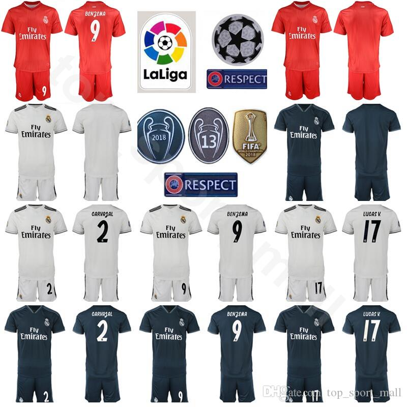 d86351608 2019 FC Real Madrid 2018 2019 Soccer Champions 9 Karim Benzema Jersey White  17 Lucas Vazquez 2 Dani Carvajal Football Shirt Kits With Short From ...