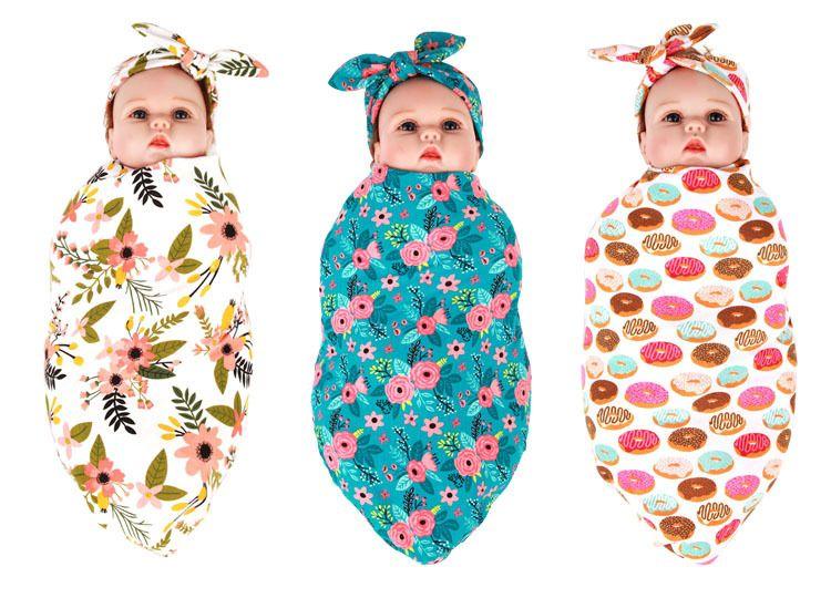 Recém-nascido de gavetas Blanket Headwrap Set Floral bebê de gavetas Headband foto do bebê Prop Set Top Knots Burp Acessórios Pano Cabelo