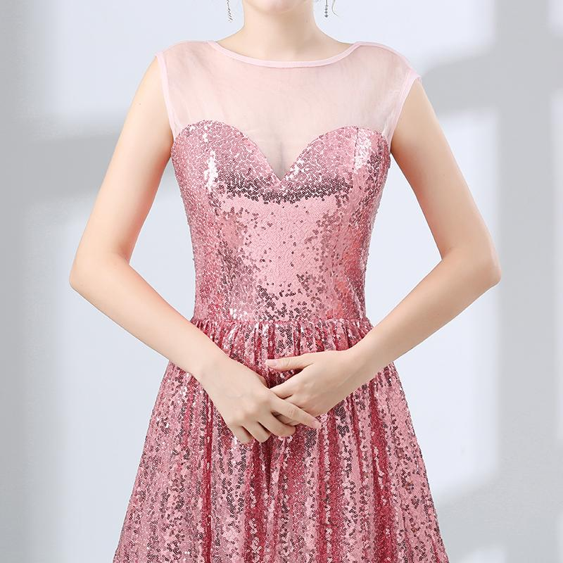 Cheap Pink Short Prom Cocktail Dresses 2018 New Sleeveless Scoop Neck Keen Length Sequins Illusion Formal Wedding Gown Bridesmaid Dress