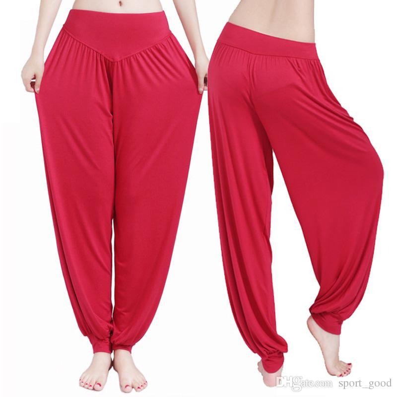 Yeni Kadın Bayan Harem Yoga Pamuk Gevşek Pantolon Rahat Uzun Pantolon Oryantal Dans Geniş Pantolon Yoga Kıyafetler Satılık Bloomers