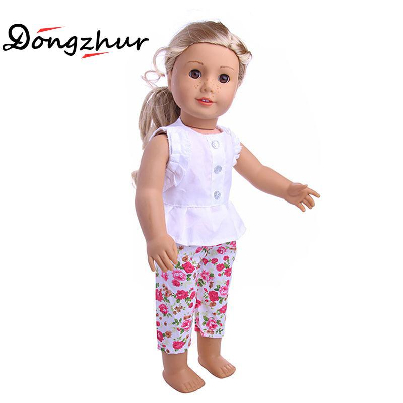 "18"" American Girl Doll Clothes And Accessories White Shirt And Flower Trousers 18 inch American Girl dolls clothes ingbaby"