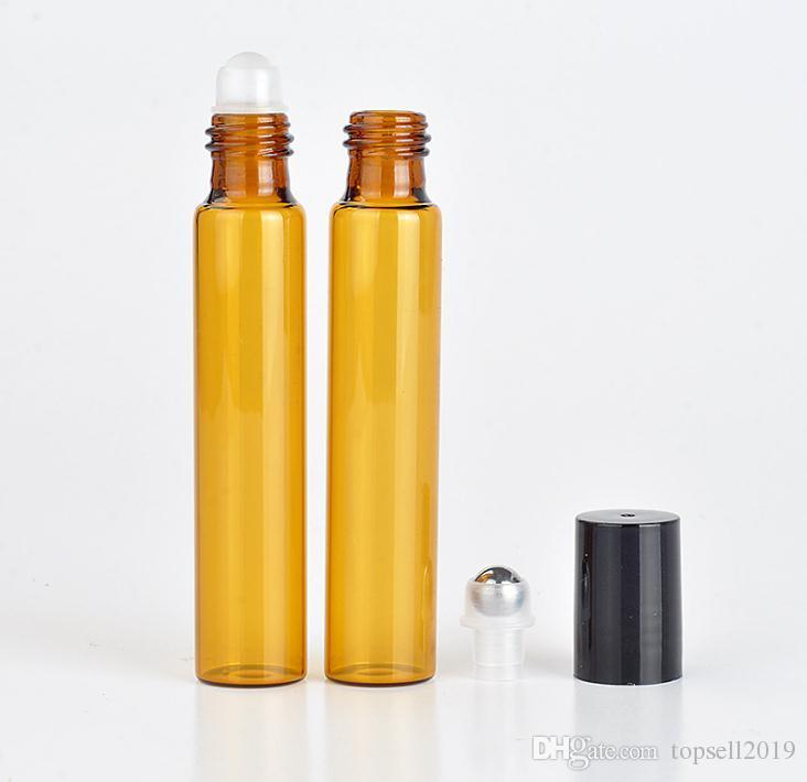 Sıcak Satış 1200 adet / grup 10 ml Amber Cam Rulo Şişe ile Paslanmaz Çelik Rulo Topu Uçucu Yağlar Kahverengi Parfüm Şişeleri SN259