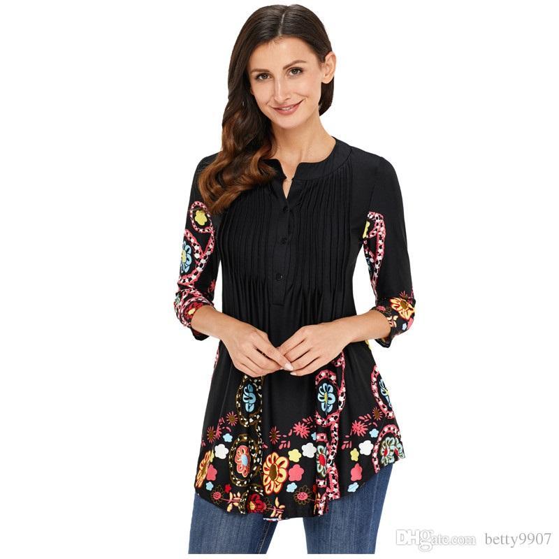 bcf6c437f6c Дизайнер длинные блузки Женская одежда повседневная осень рубашка цветочные  Notch шеи Pin-tuck туника топы офис дамы рабочая одежда