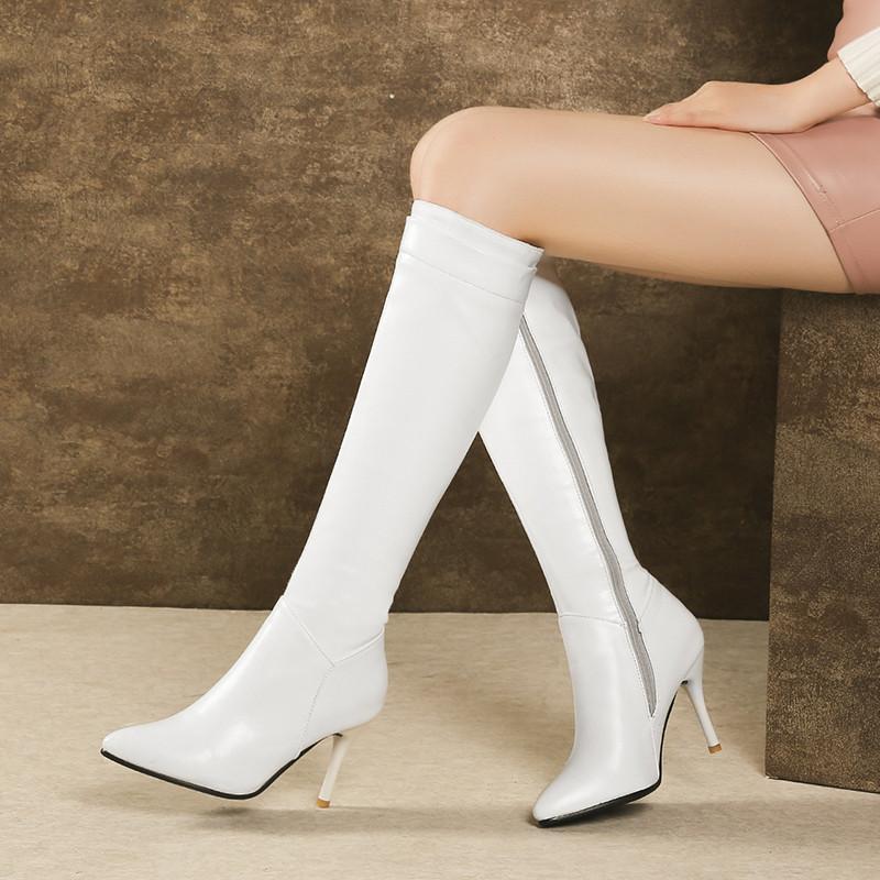 Chaussures Botas Pointu Bottes Hauts Ymechic Blanc Taille Chevalier Bout Noir Botte Plus La Haut Talons Dames D'hiver Femmes À Genou Mince Tl1JcKF3
