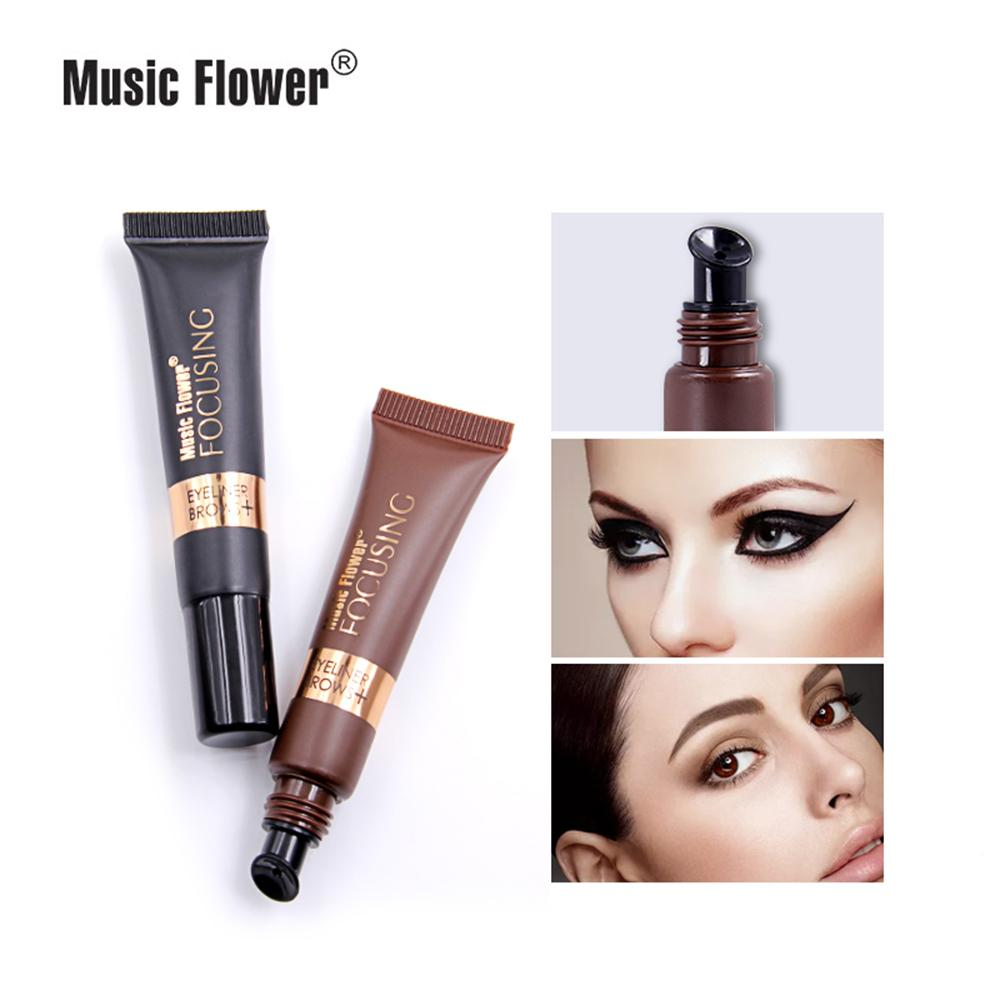 Music Flower Brand Waterproof Eyeliner Cream Makeup Gel Eye Liner With Brush 24 Hours Long-lasting For Women M5040