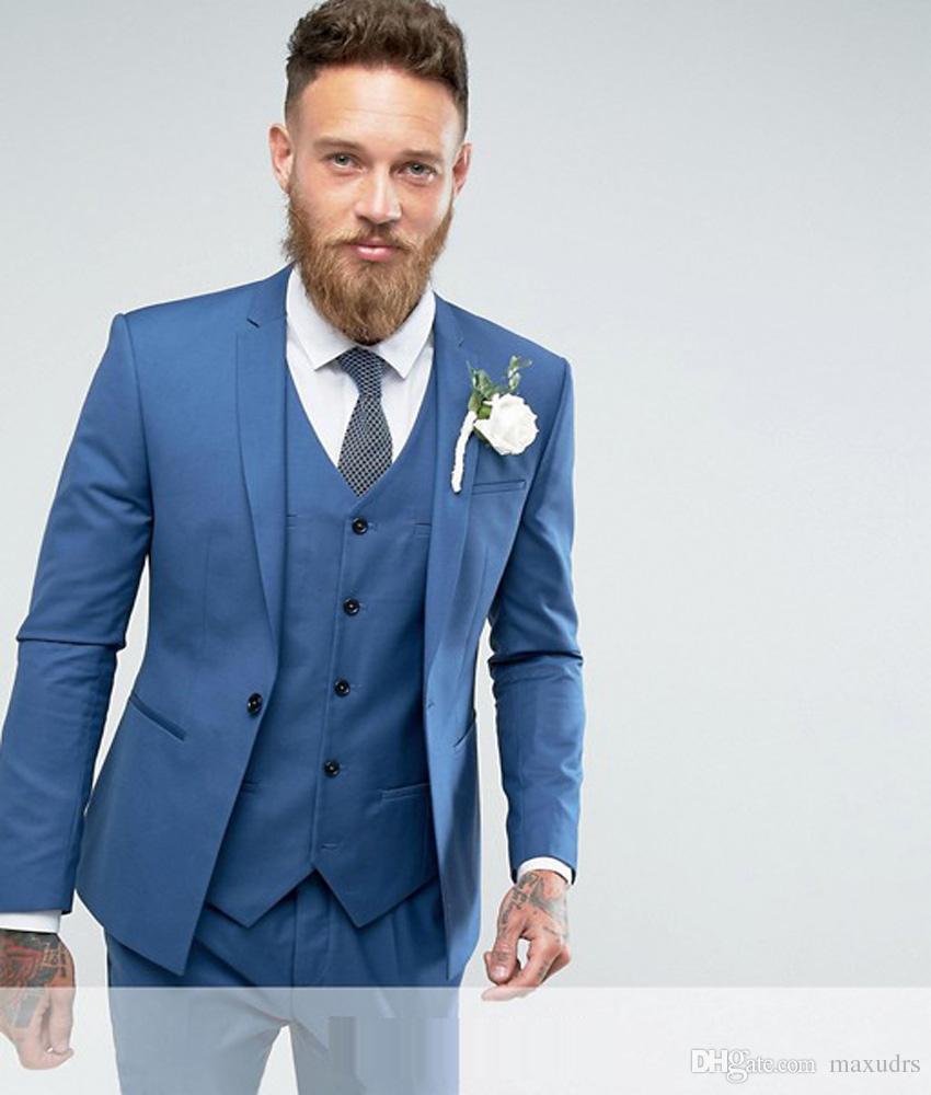 Compre 2019 Morning Style Light Blue Esmoquin Novio Mejor Hombre Para  Padrinos De Boda Hombres Trajes De Boda Smart Casua L Chaqueta + Pantalones  + Chaleco ... a6ef468d007