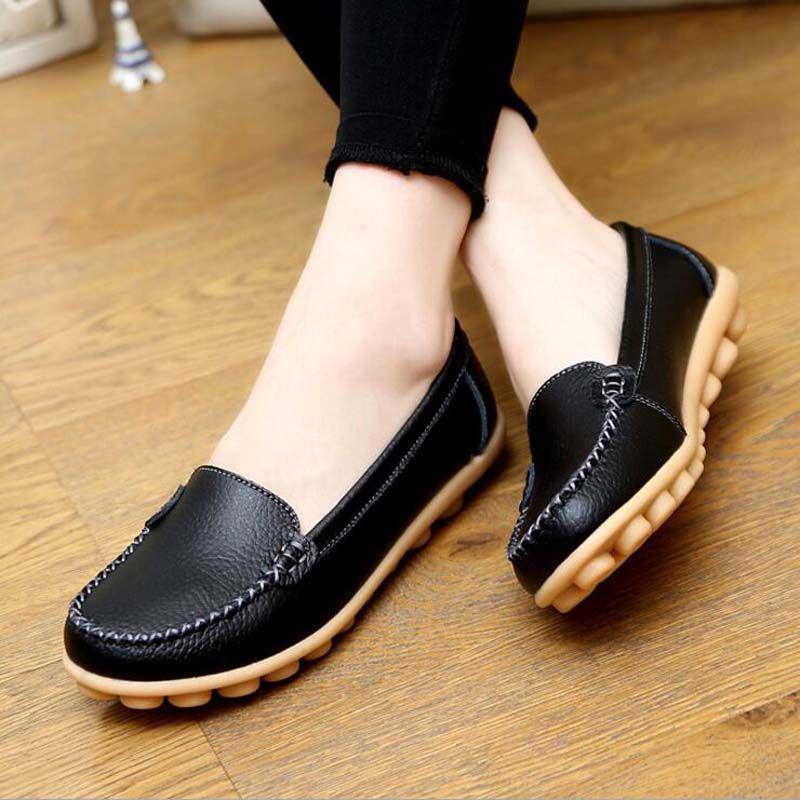 Femmes Casual Mocassins en cuir souple main Bow Tie Chaussures pour dames Mère marche Chaussures plates Zapato Mujer Taille 35-40 B1qbpO