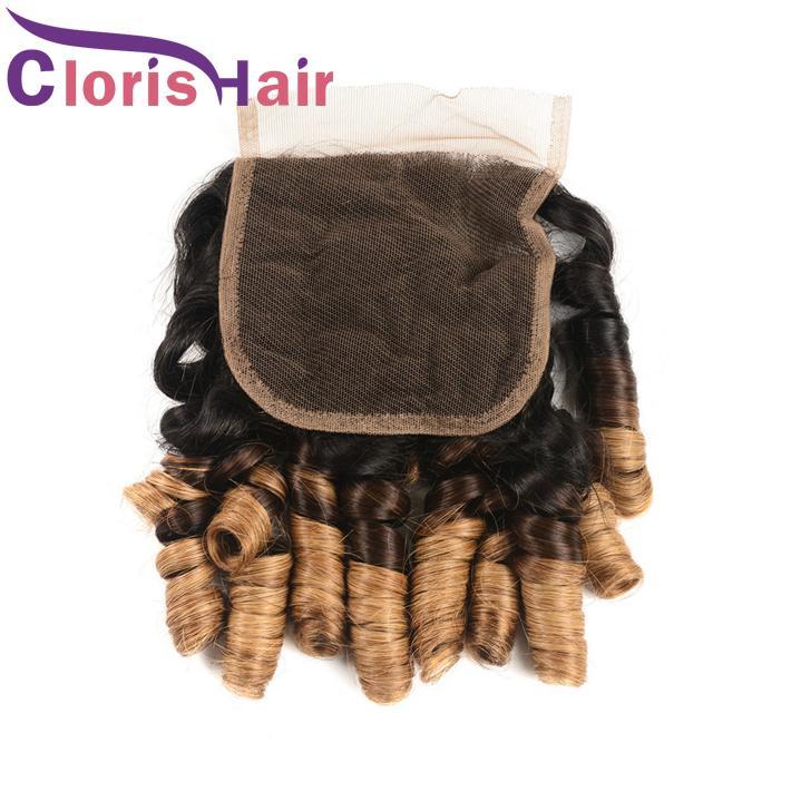 1B 4 30 Ombre İnsan Saç Dantel Kapatma Ile 3 Demetleri Teyze Funmi Romantizm Bukleler Bakire Perulu Sarışın Örgüleri Renkli Sarışın Kıvırcık Uzantıları