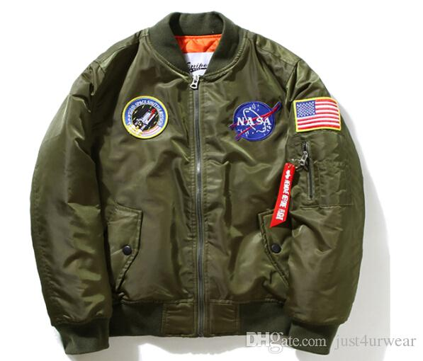 Mens Flight Pilot Jacket Coat Women NASA MA1 Bomber Jacket Pattern Insignia  USAF Coat Lovers Coat Jacket Tops Clothing M 4XL UK 2019 From Just4urwear 39b6b3ce3b
