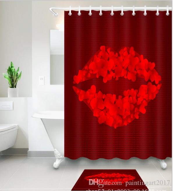 Red Lips Pattern 3D Print Custom Waterproof Bathroom Modern Shower Curtain Polyester Fabric Door Mat Sets UK 2019 From Paintingart2017