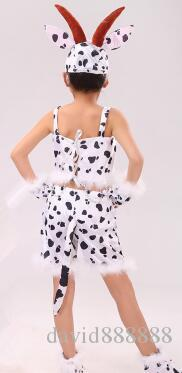 2019 Nouveau style enfants Cosplay Petite vache Animale effectuer Paillettes Vêtements Filles Danse Conjoined clothes court paragraphe