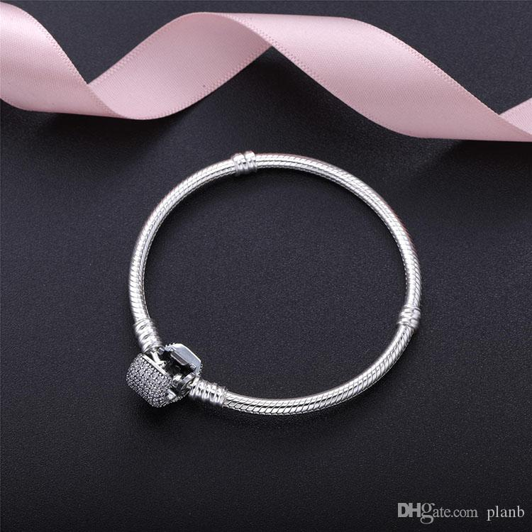 Sterling Silver Women Bracelets with box White Micro Paved CZ Diamond Bracelet Logo Stamped for Pandora European Charms Bead