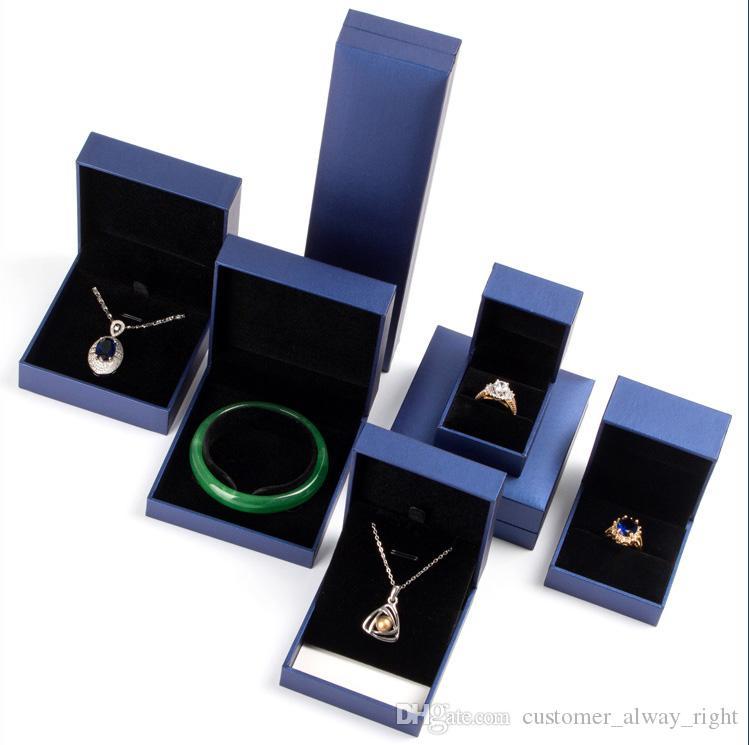 Caixas de presente OEM made in china luxo jeselry caixas de presente também se encaixam para caixa de relógio azul cor 6 tamanhos frete grátis