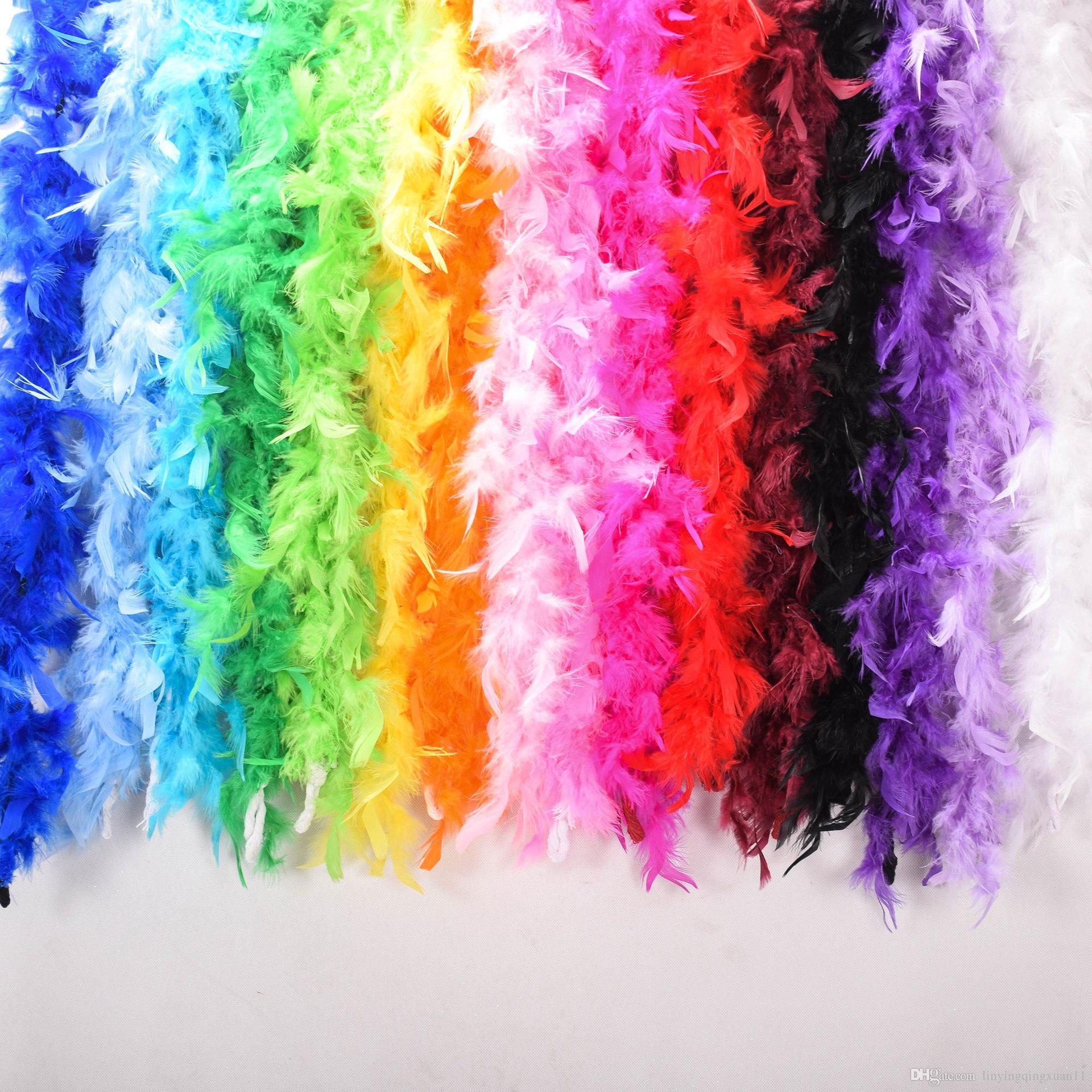 2 yards / Accessori abbigliamento Turchia Feather Multi Color Strip Soffice Boa Happy Birthday Party Decorazioni di nozze Forniture