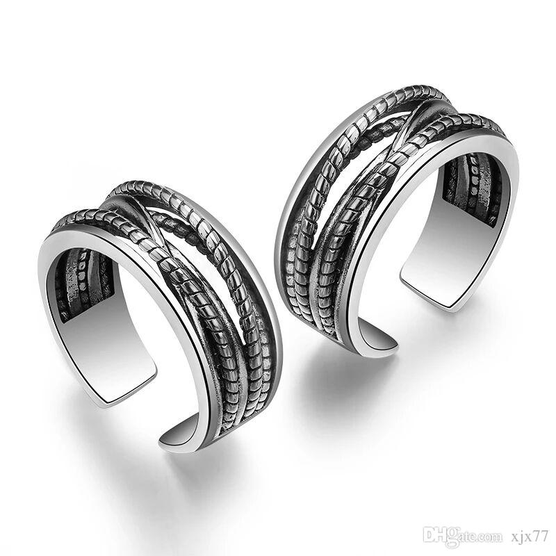 f99cb388eccf2 Love S925 Sterling Silver Ring Couple, A Pair of Female Index Fingers Japan  and Korea Simple Students Men's Chains.