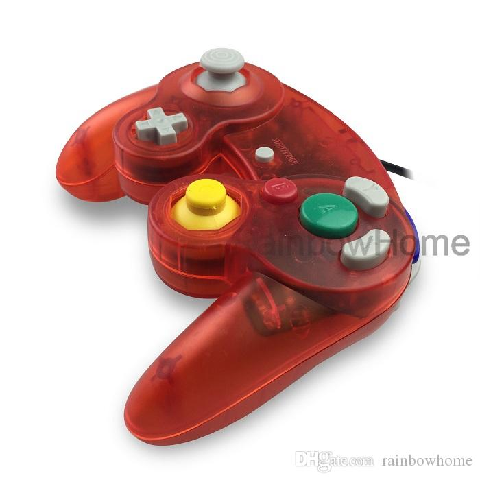 Wired Game Cube controlador Gamecube para NGC Gaming Console Gamepad Wii Analog Stick Vibration Feedback semitransparente Cor