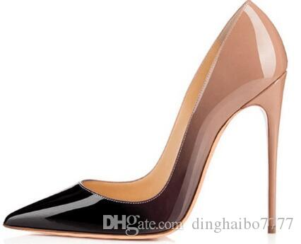 Women brand high heel shoes real Leather Poined Toe Women Pumps,120mm Fashion lRed Bottom High Heels Shoes for Women Wedding shoes