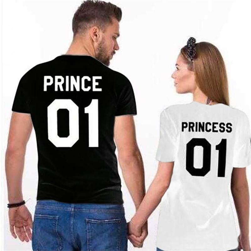 34a6b6ce 2018 Couple Summer T Shirt Prince Princess 01 Leer Print T Shirt Tops Tees  Short Sleeve Lovers Couple Shirt Women Man Tops Tee T Shirts Designs Online  T ...