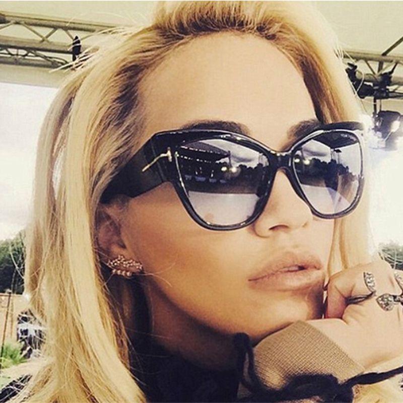 2575a6396f Compre 2016 Nuevo Diseñador De La Marca Tom Fashion Cat Eye Mujer Gafas De Sol  Mujer Gradient Points Gafas De Sol Big Oculos Feminino De Sol TF A $20.37  Del ...
