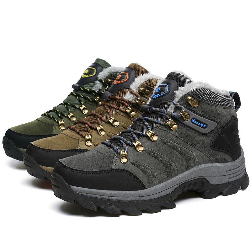 Men Winter Boots Quality Suede Snow Boots Fur Plush Winter Snow Shoes for Men Lace Up Outdoor Shoes HH 211