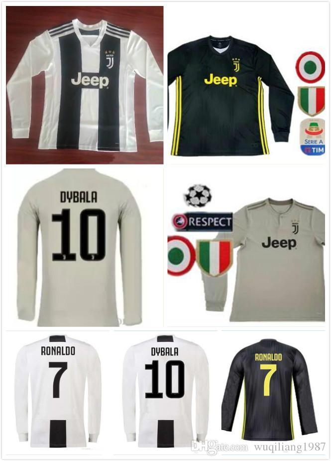 40c090a416d ... cheap 2018 long sleeve juventus home third soccer jersey 18 19 ronaldo  10 dybala soccer shirt