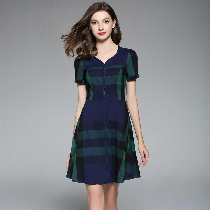 1a6fe0b41ef6 2019 Plaid Designer Dresses Cotton 2018 Knee Length V Neck Women Dress For Summer  Wholesale Red Green Khaki Blue From Nevalee