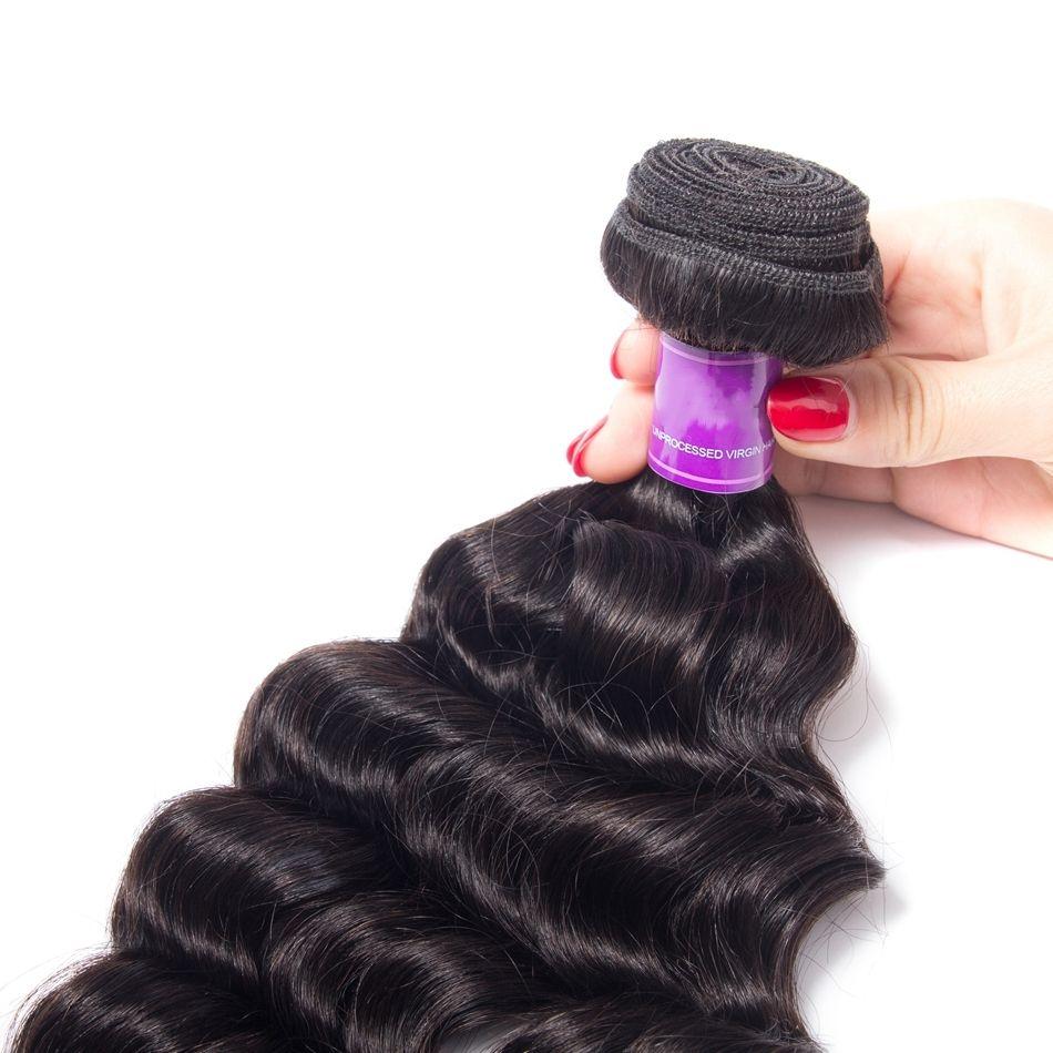 2Bundles Mink Brazilian Loose Deep Body Wave Virgin Hair Weave Bundles 8-30 inch 100% Human Hair Jet Natural Black Color Bundles