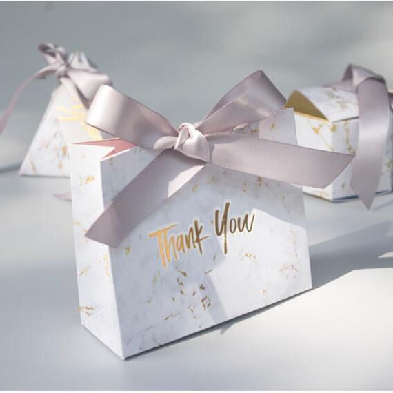Marble Paper Gift Boxes Foiling Thank You Bridal Shower Gift Bags
