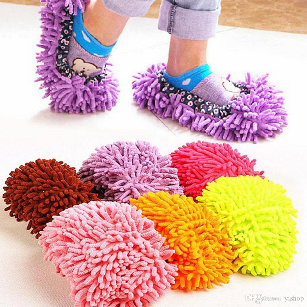 Multicolor Unisex Lazy Mopping Scarpe Cover Polvere Mop Pantofole House Cleaner Pavimento pigro Spolvero Pulizia Foot Shoe Cover Soft Swob