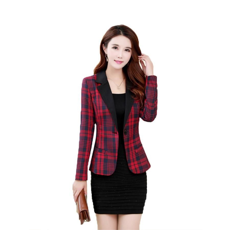 d5e37ad8ff1cc9 Casual Women Blazers And Jackets Slim Plus Size Red Plaid Blazer Women  Elegant Suit Korean Runway Working Jacket Woman X50053