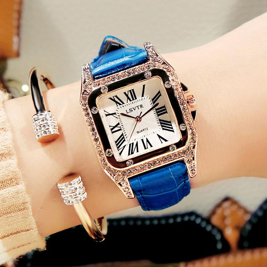 b408f1a2778 Rushed Luxury Brand Woman Watches Leather Strap AAA Womens Square Watch  Lady Retro Rhinestone Diamonds Wristwatches Clock Relogio Feminino Watches  Deal ...