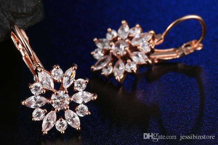 Brand Fashion Rose Gold color Earrings Colorful CZ Zircon Beautiful Flower Hoop Earrings For Women Silver color Jewelry