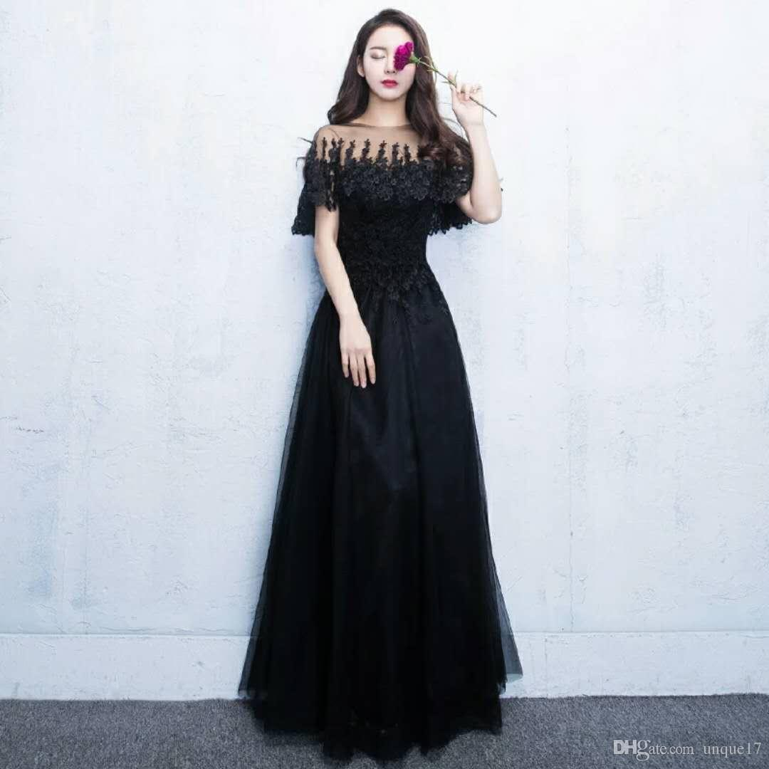 f83b0626b Compre Vestido De Noche De Fiesta 2018 Nuevo Vestido Largo Negro Elegante  Reunión Anual Anfitrión Vestido Delgado Vestido Femenino Nobleza A  126.64  Del ...