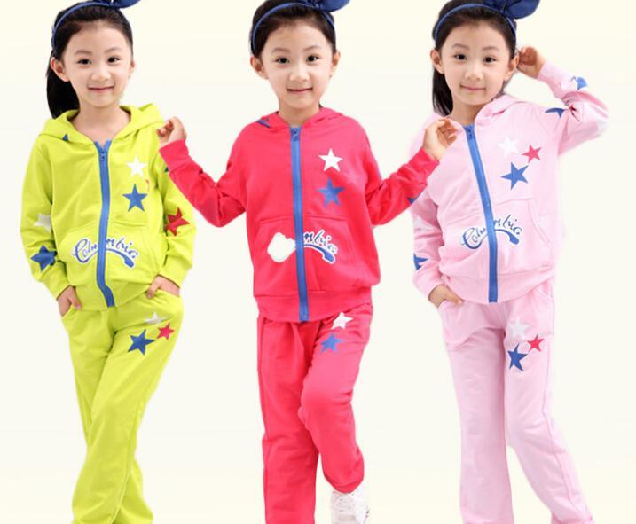 c0792b938 niños niñas deporte conjunto jogging chaqueta + pantalones niños ropa  conjuntos niños sudadera con capucha sudadera bebé chándal primavera otoño  ropa