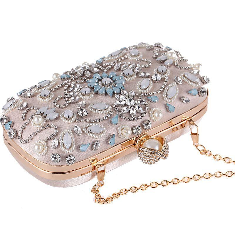 Luxury Clutch Purse Women Crystal Diamond Evening Bags White Pearl Beaded Shoulder Party Bag Bridal Wedding Clutches Handbags