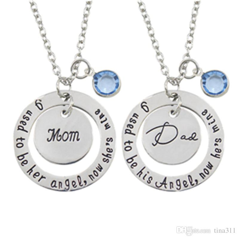 I Used To Be His/Her Angel Now He's/She's Mine Dad/Mom Crysal Memorial Necklace In Memory Of Mothers Father's Day Gift T2C205